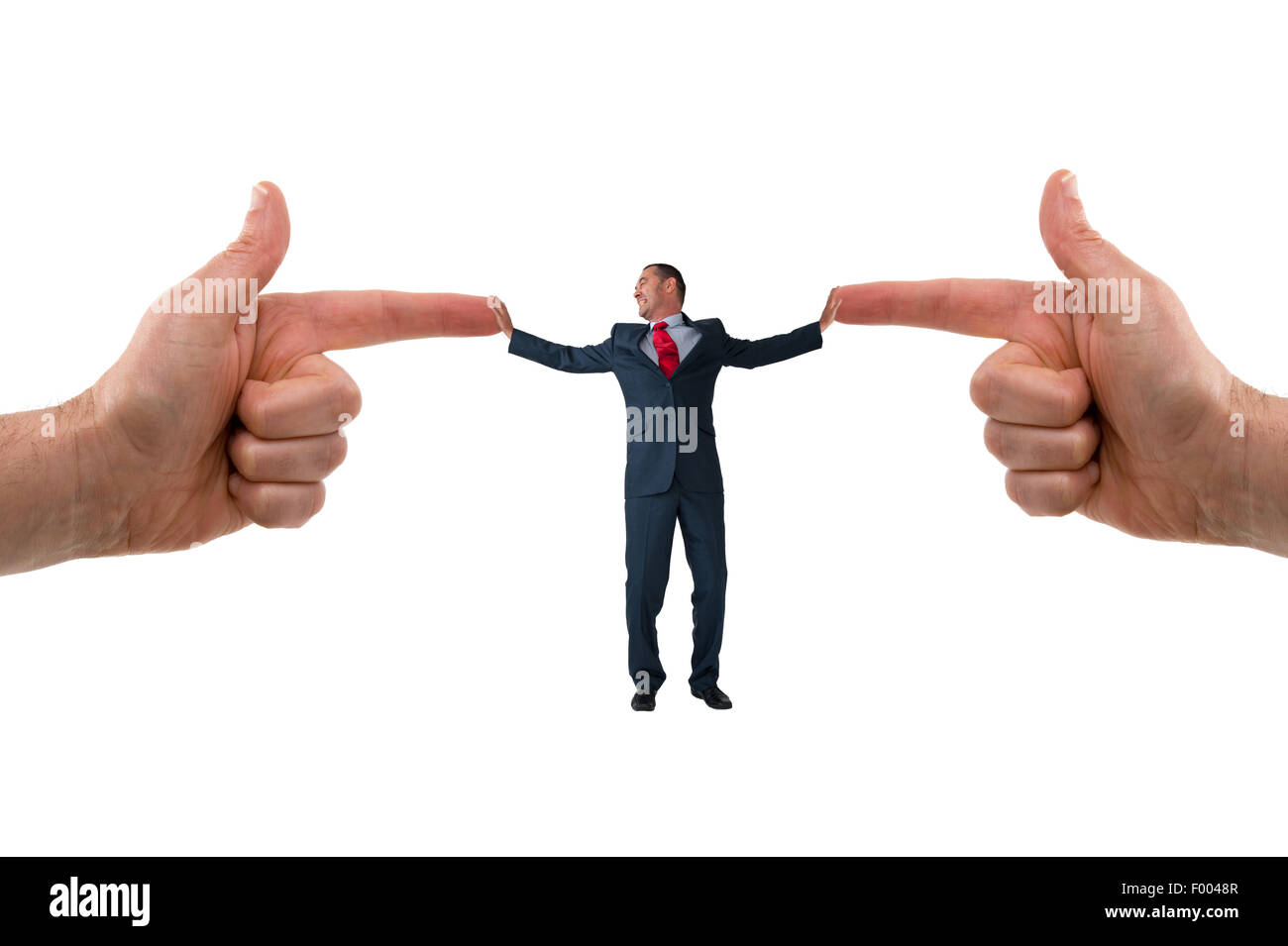 businessman accusation concept pointing fingers business stress pressure - Stock Image