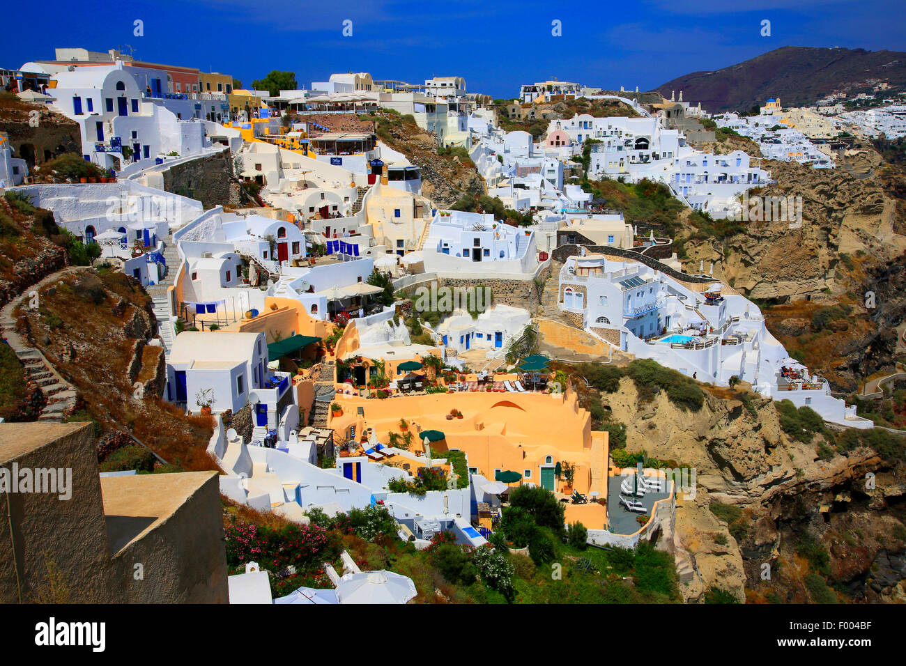 view to Thira, Greece, Cyclades, Santorin, Thira - Stock Image