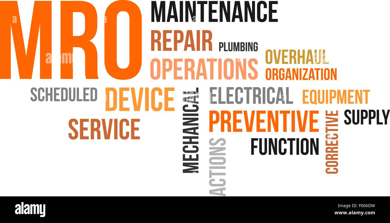 A word cloud of maintenance repair and operations related