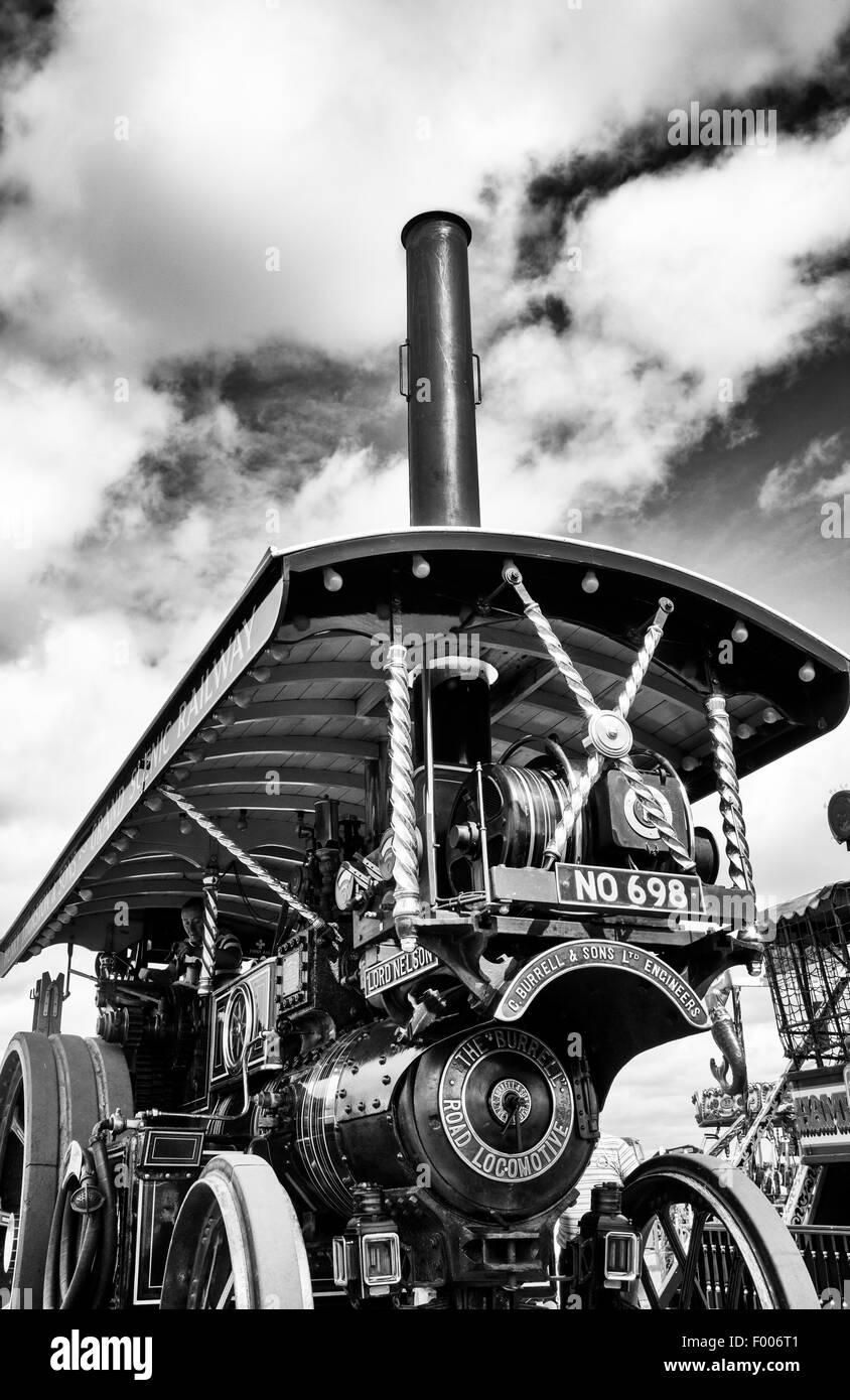 Showmans Traction Engine at a steam fair in England. Black and White - Stock Image