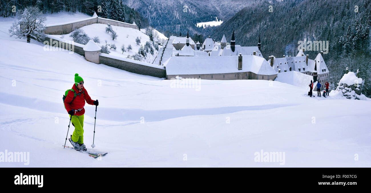 Ski touring over the monastry of the Grande Chartreuse, France, Isere, Chartreuse, Grenoble Stock Photo