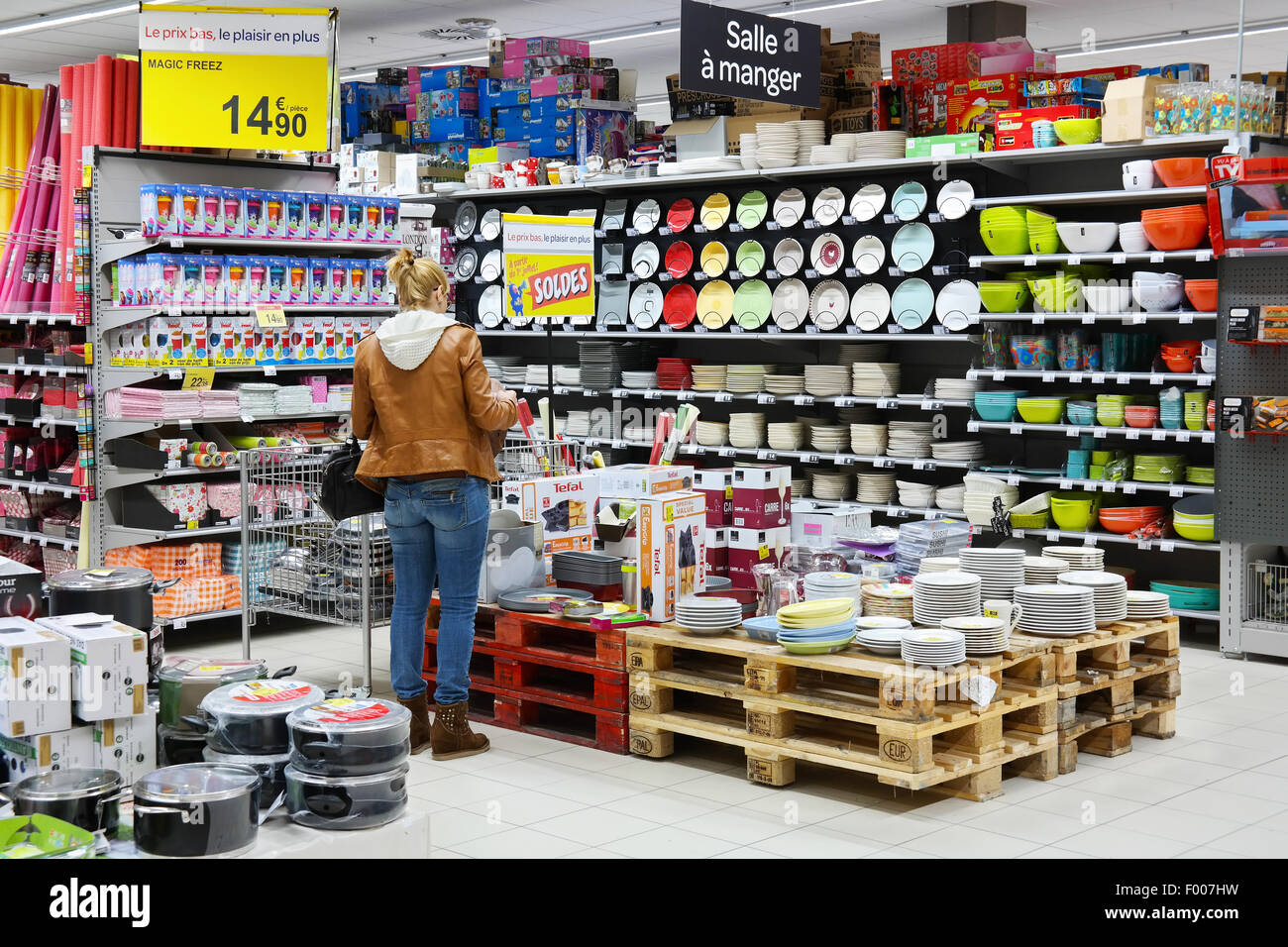 Household appliances and interior decorating department of a Carrefour Hypermarket - Stock Image