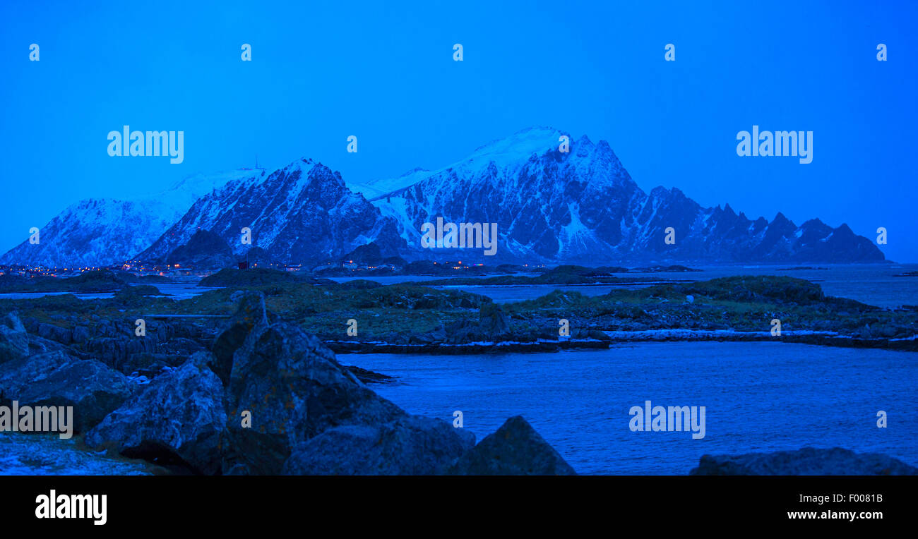 polarnight at 3 pm, Norway, Vester�len, Insel And�ya, Andenes Stock Photo