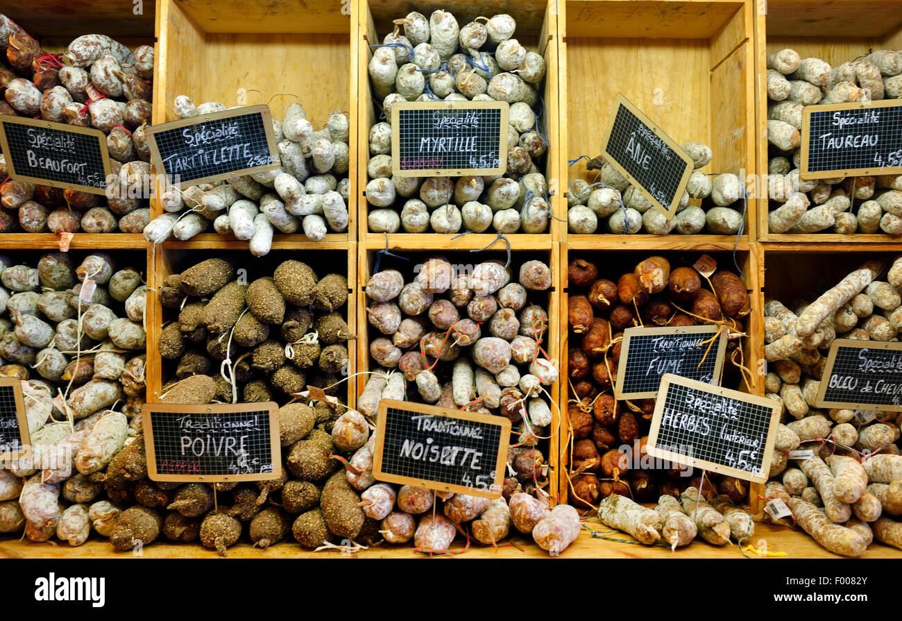 diverse airdried sausages in a french shop, France, Savoie, Montalbert - Stock Image