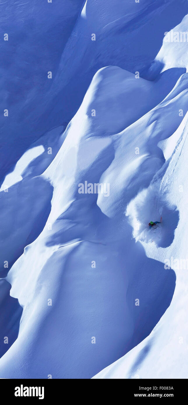 freeskiing in the Alps, France, Savoie, Tignes - Stock Image