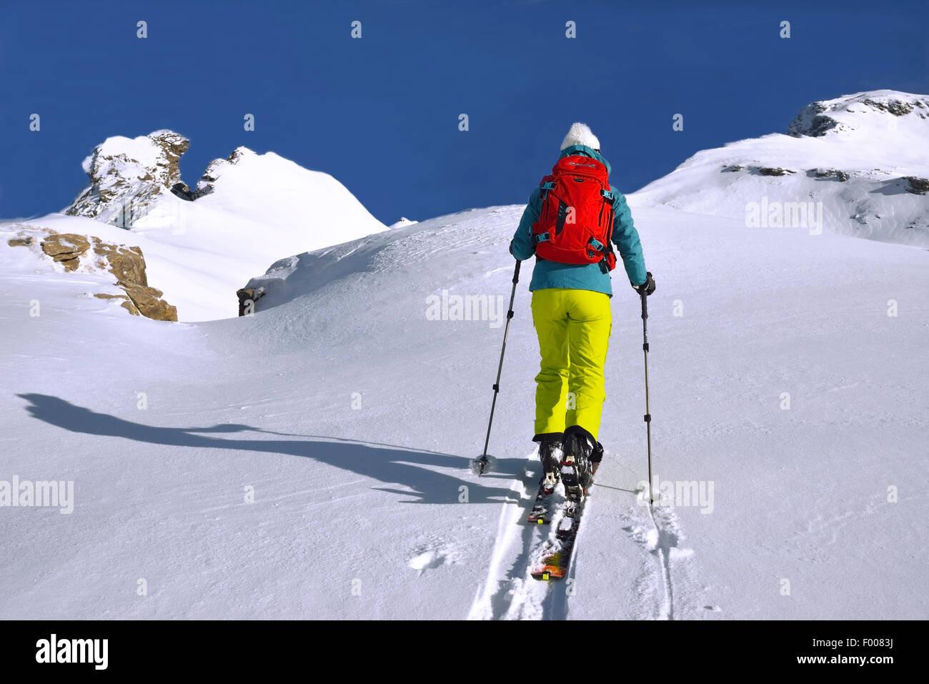 ski touring in snow-covered Alps, France, Savoie, Sainte Foy - Stock Image