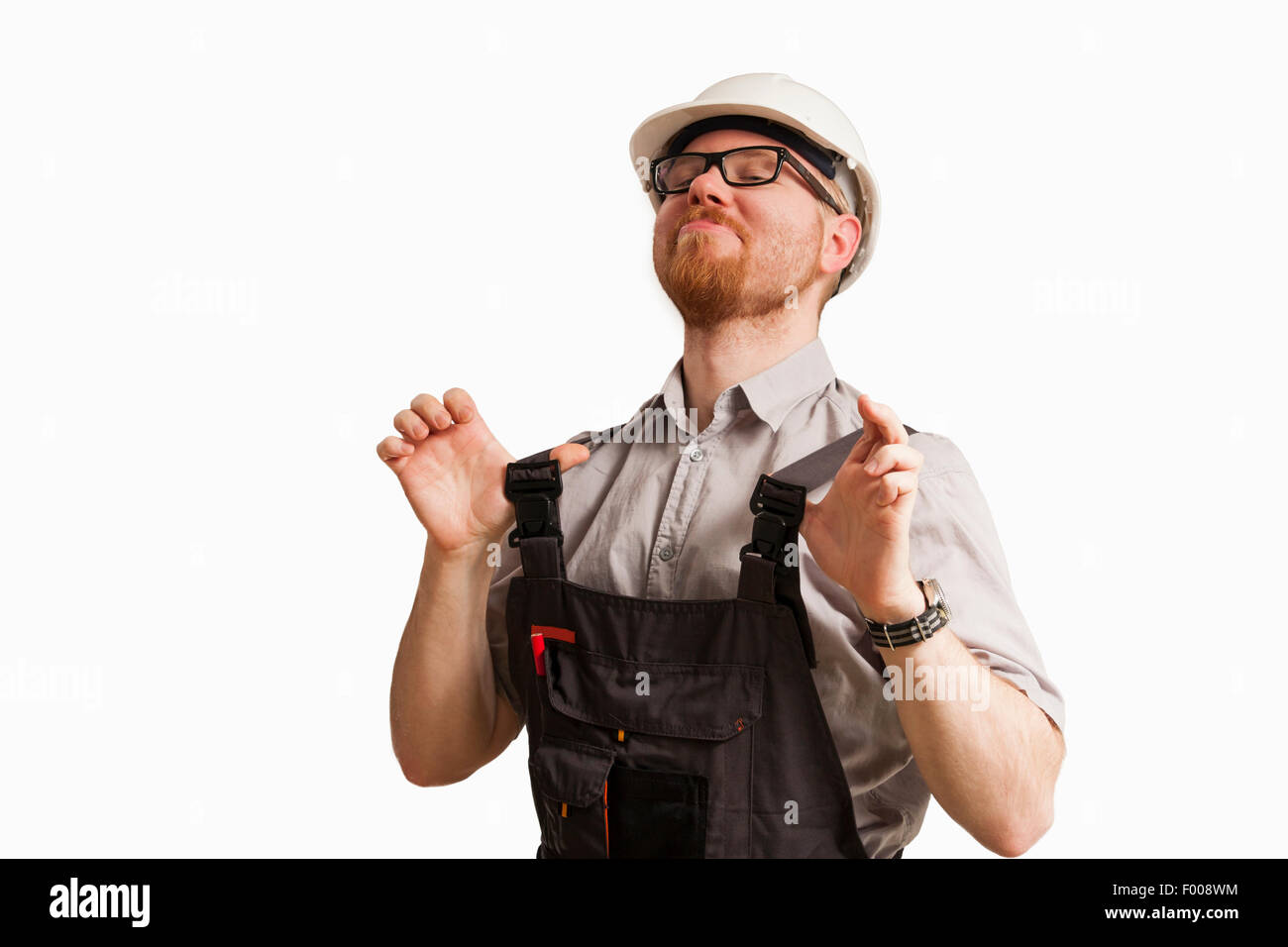 Very Proud Man in Construction Site Clothes Stock Photo