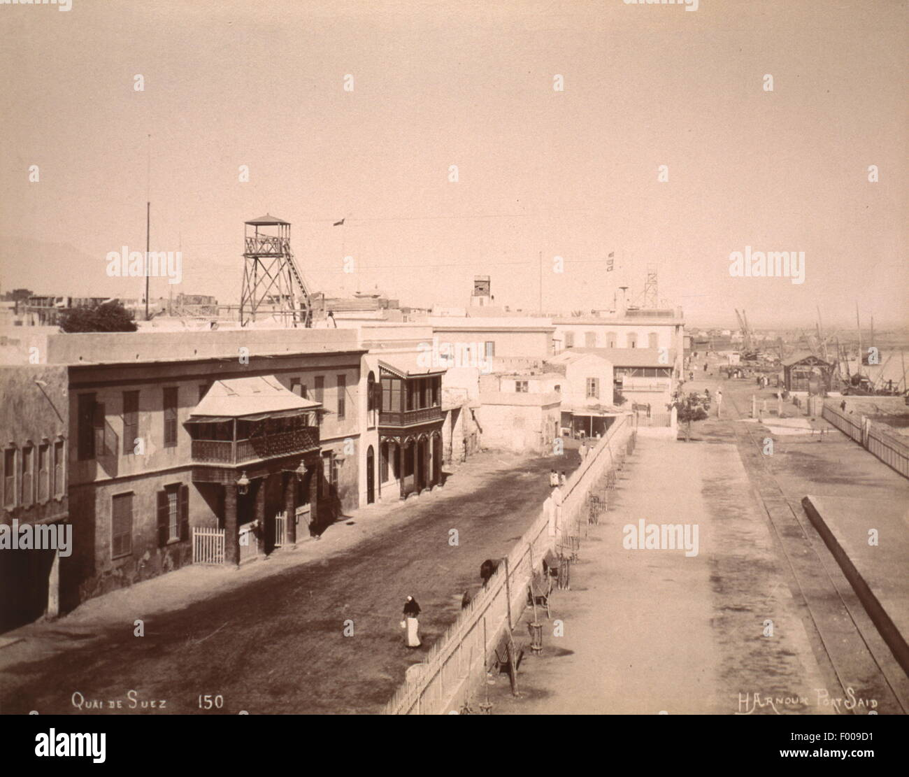 Suez, Egypt - 1870s - A quay at Suez.  Taking 10 years to build, the Suez Canal was the brainchild of Frenchman - Stock Image