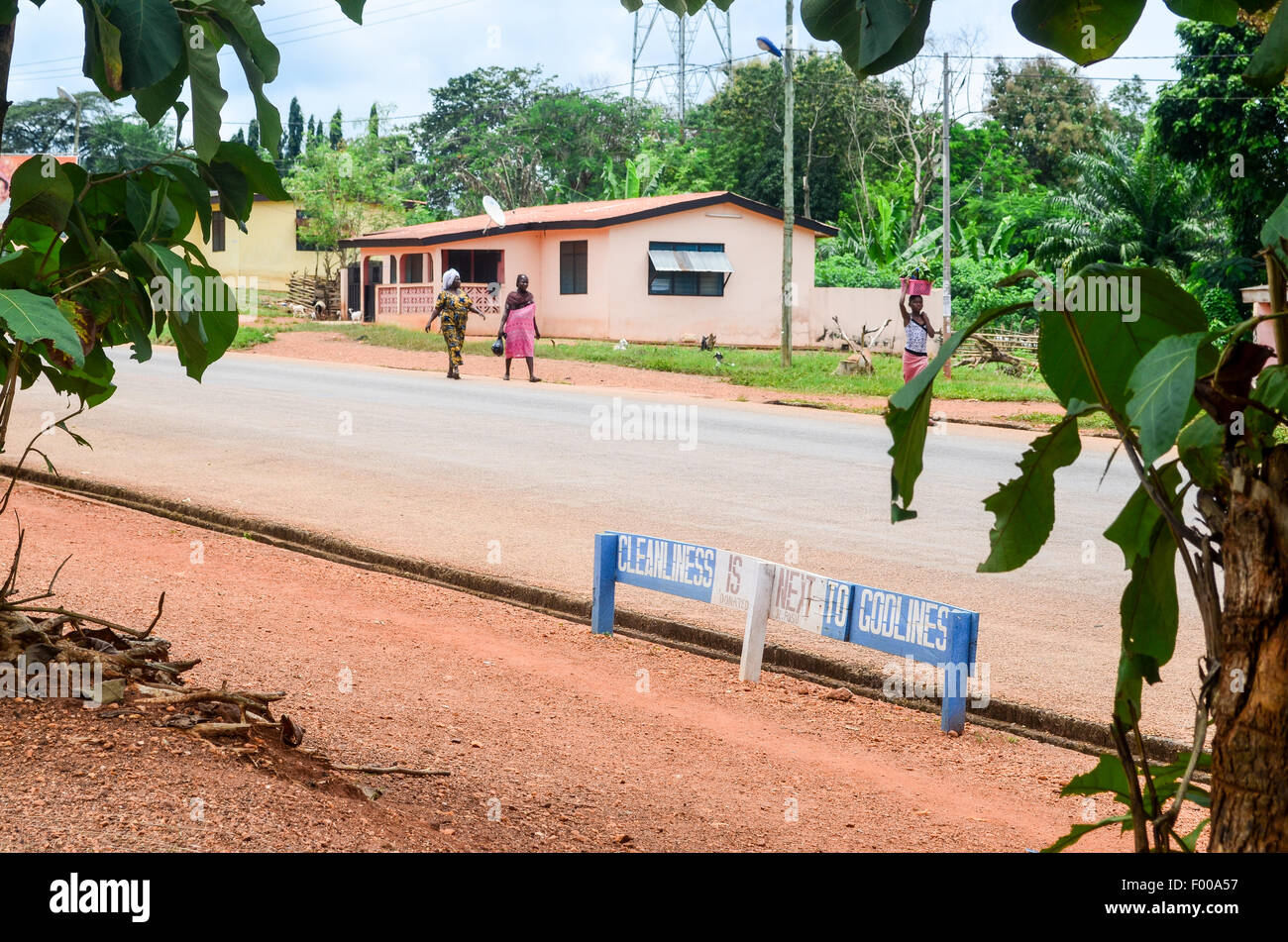 'Cleanliness is next to Godliness' sign about public cleanliness in Ghana - Stock Image