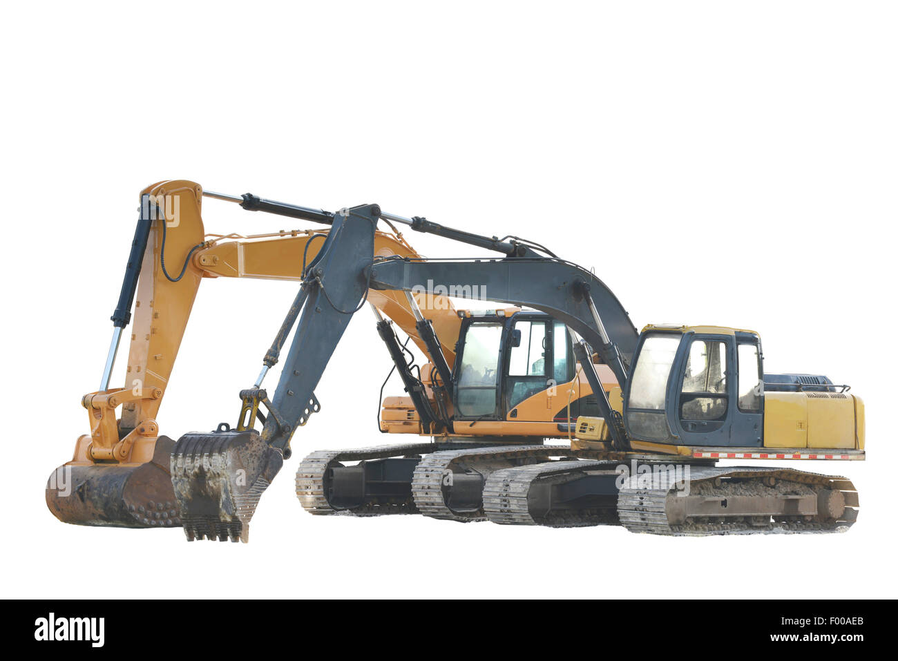 Two big excavators isolated on a white background - Stock Image