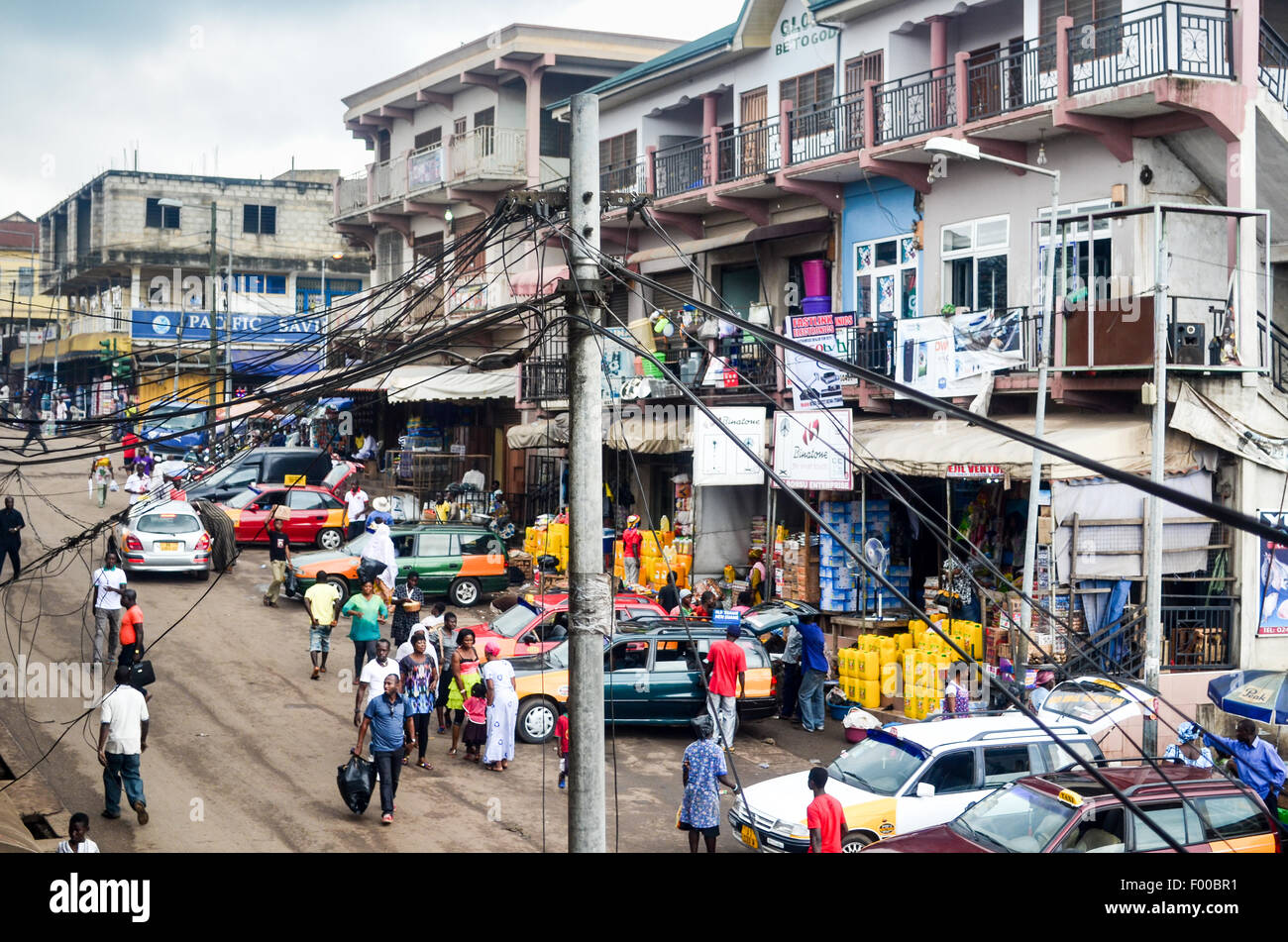 Kejetia market (Kumasi central market) in Ghana, the largest single market in West Africa with over 10,000 stores - Stock Image