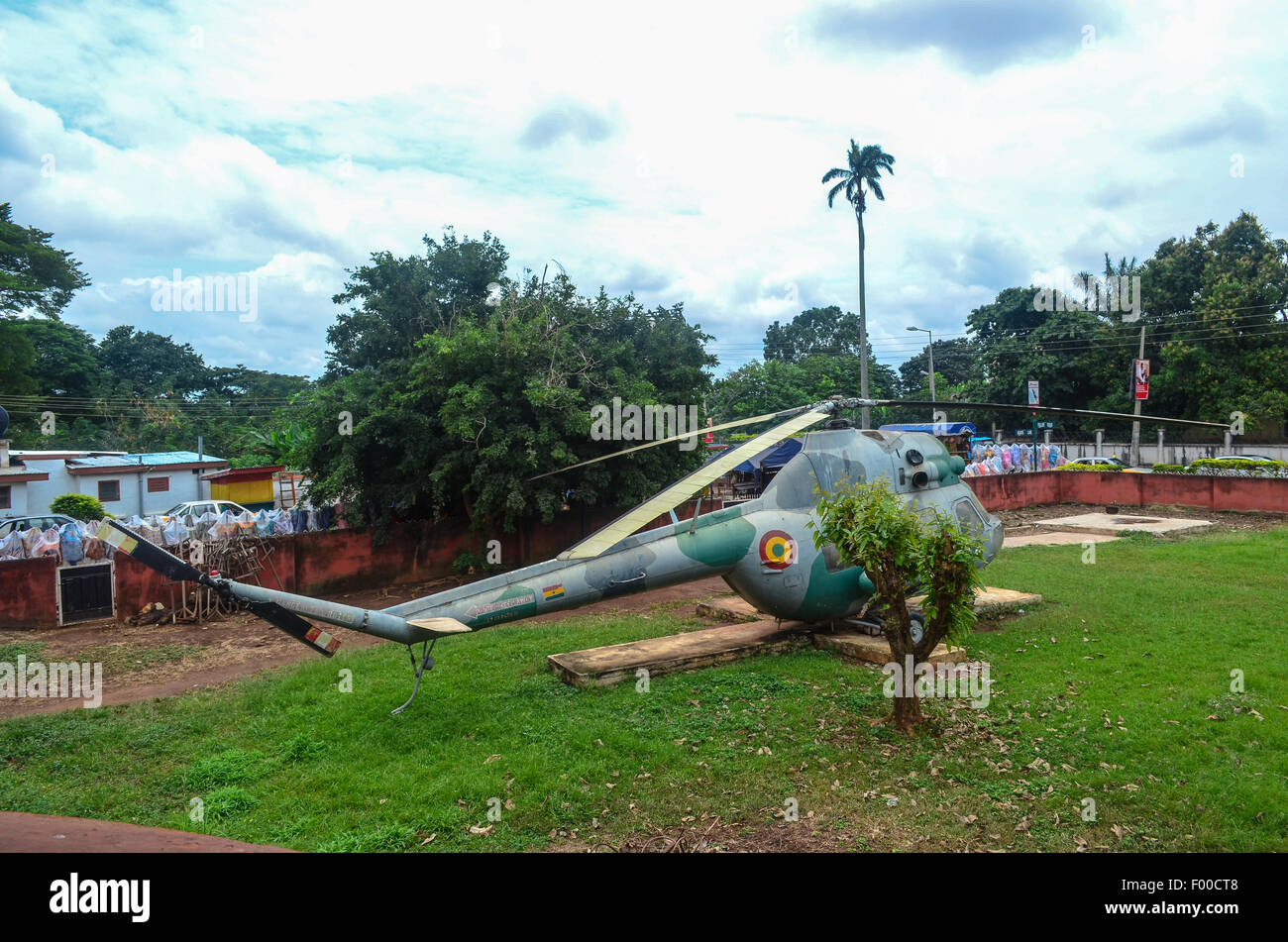 War helicopter in the backyard of the Armed Forces museum of Kumasi, Ghana - Stock Image