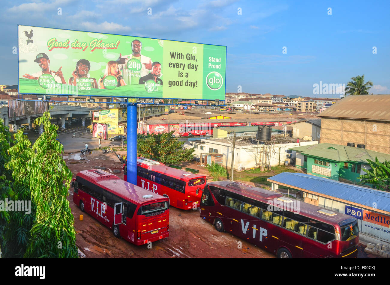 Aerial view of Kumasi, Ghana, with an ad of a cellphone operator - Stock Image