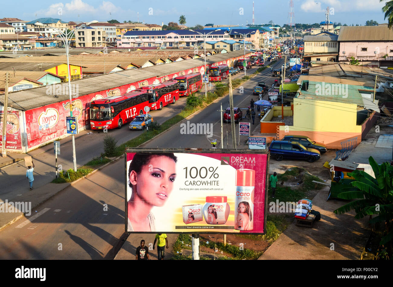 Aerial view of Kumasi, Ghana, with an ad of a skin whitening cosmetic product Stock Photo