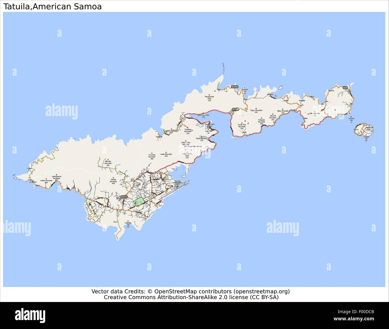 Tutuila American Samoa Country city island state location map Stock ...