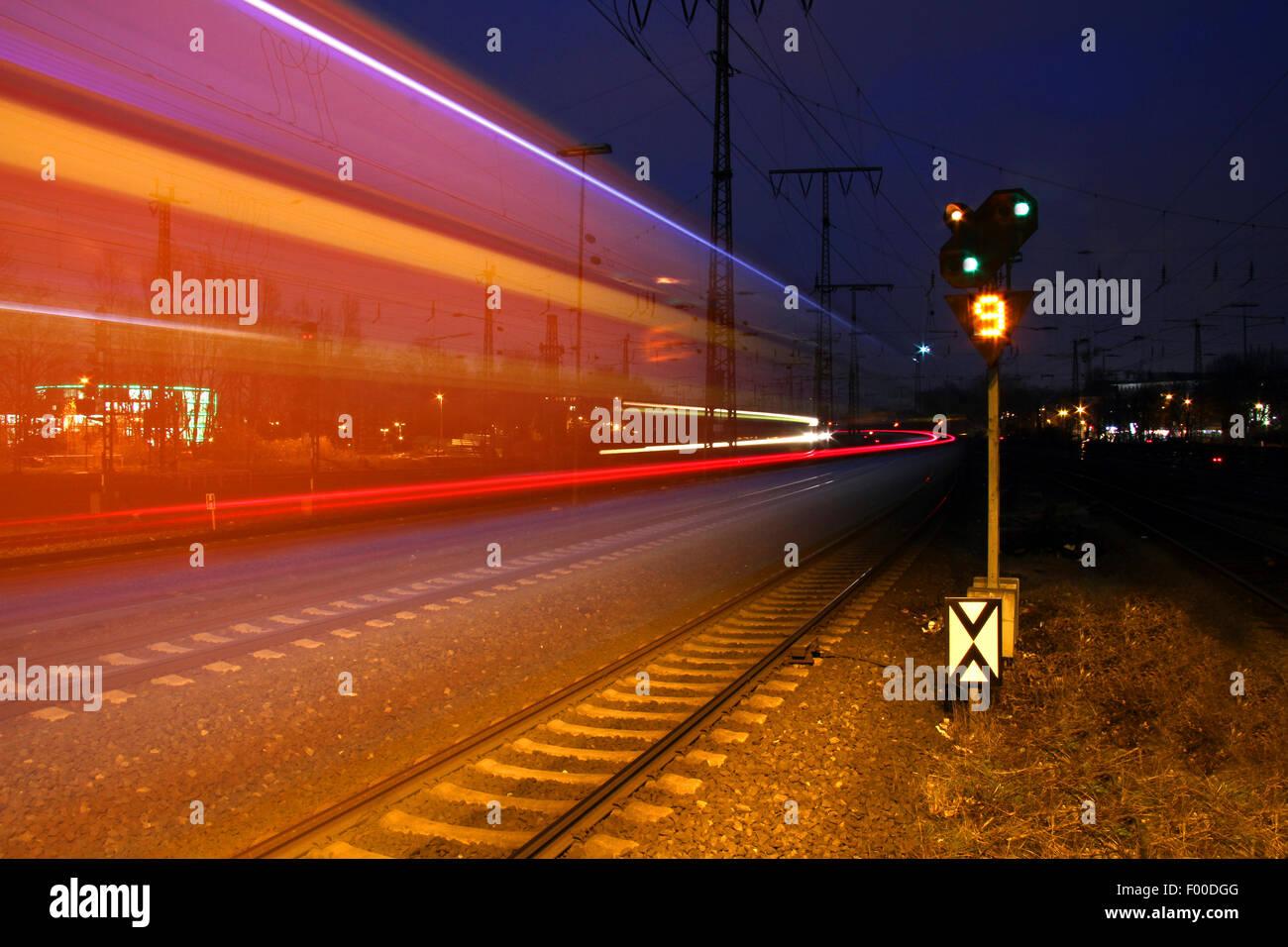The train races through the dark night, Germany - Stock Image
