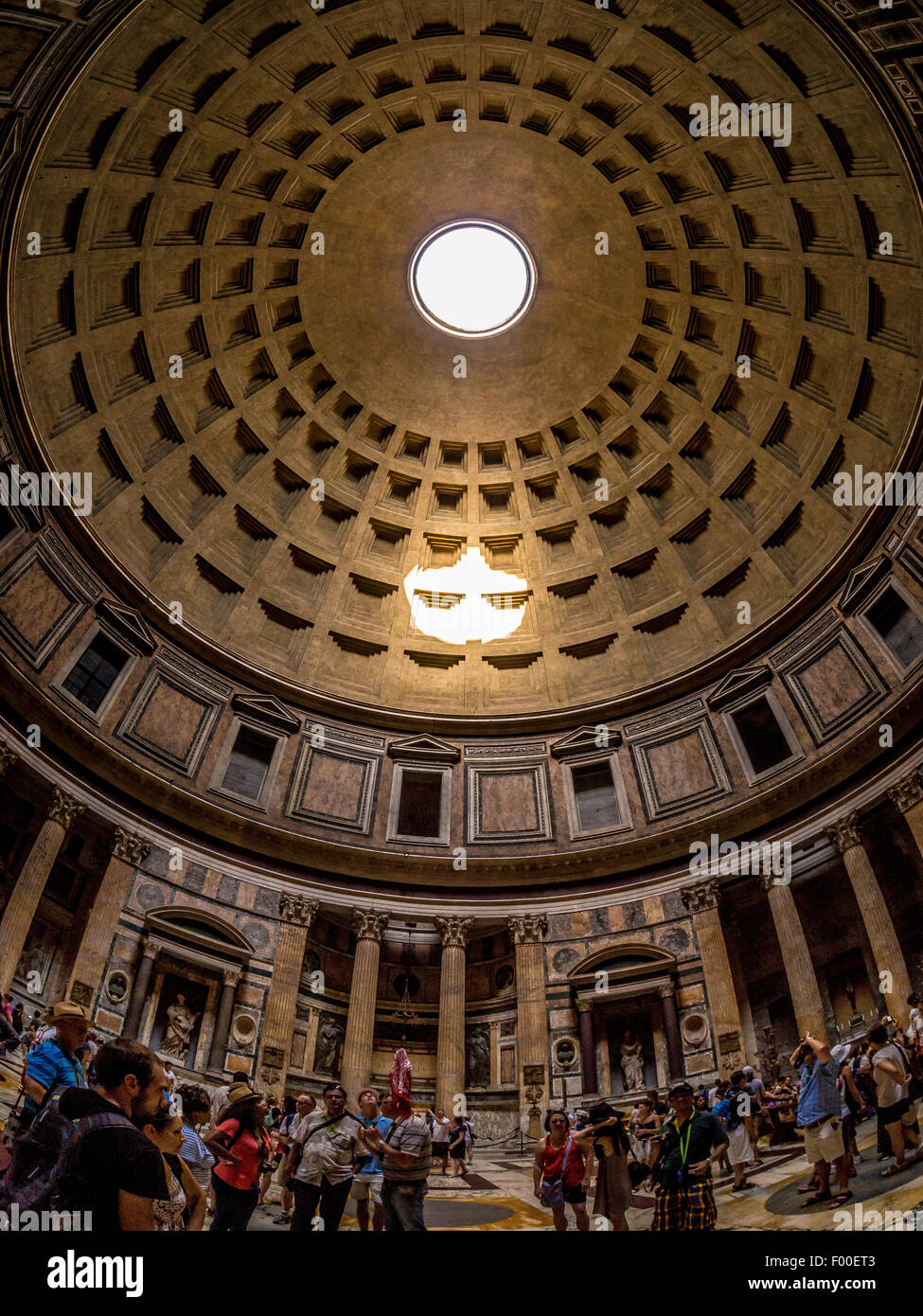 Fisheye Lens Shot Of Oculus And Interior Of The Pantheon