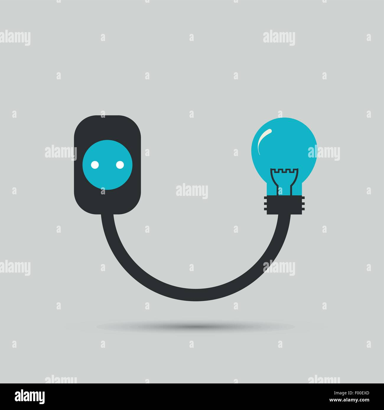 Electric wire light bulb and plug. Vector design Stock Vector Art ...
