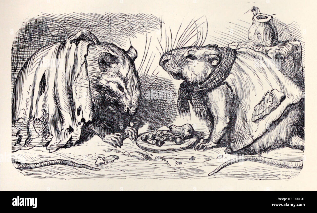 The Town Mouse And Country Fable By Aesop Circa 600bc Visits Discovers Delights Of City Food Are