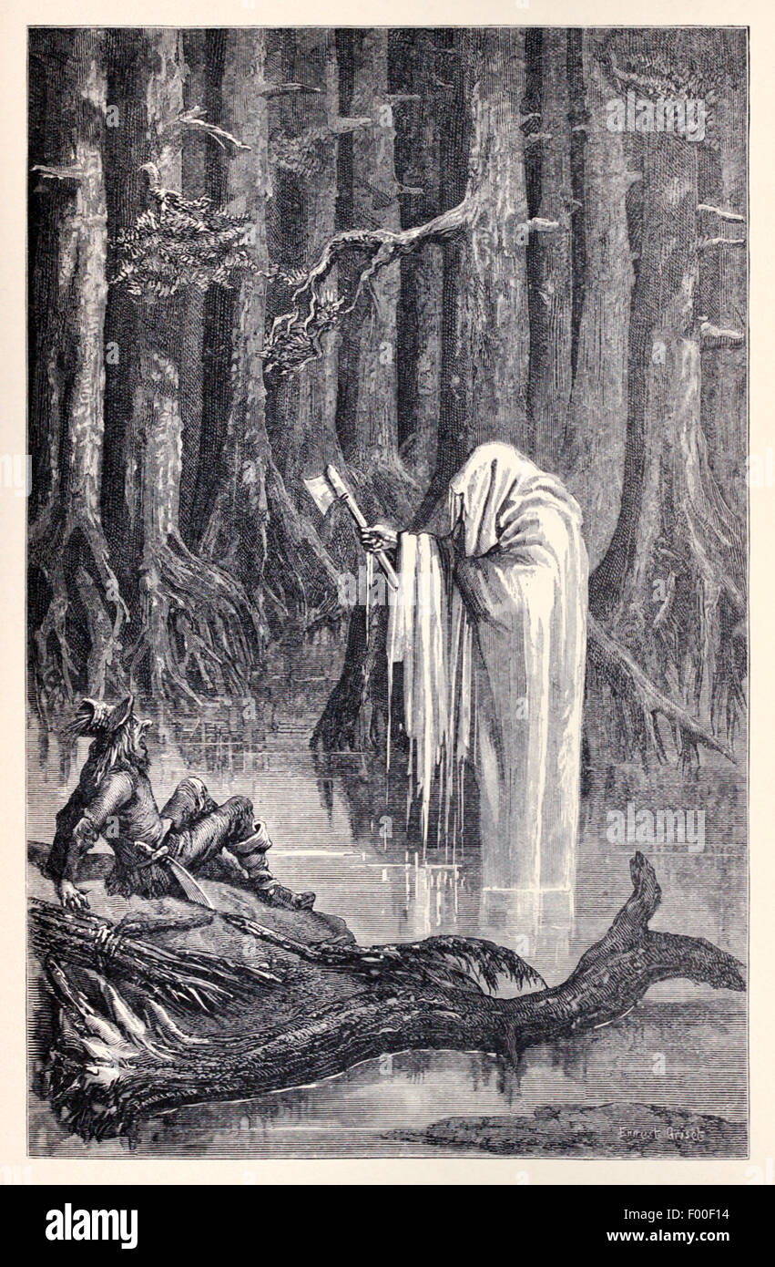 'Mercury and the Woodcutter' fable by Aesop (circa 600BC). Illustration by Ernest Grisnet (1844-1907). See - Stock Image