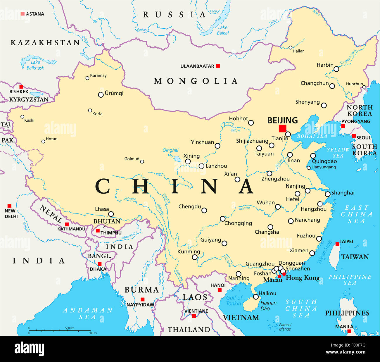 China Political Map With Capital Beijing National Borders