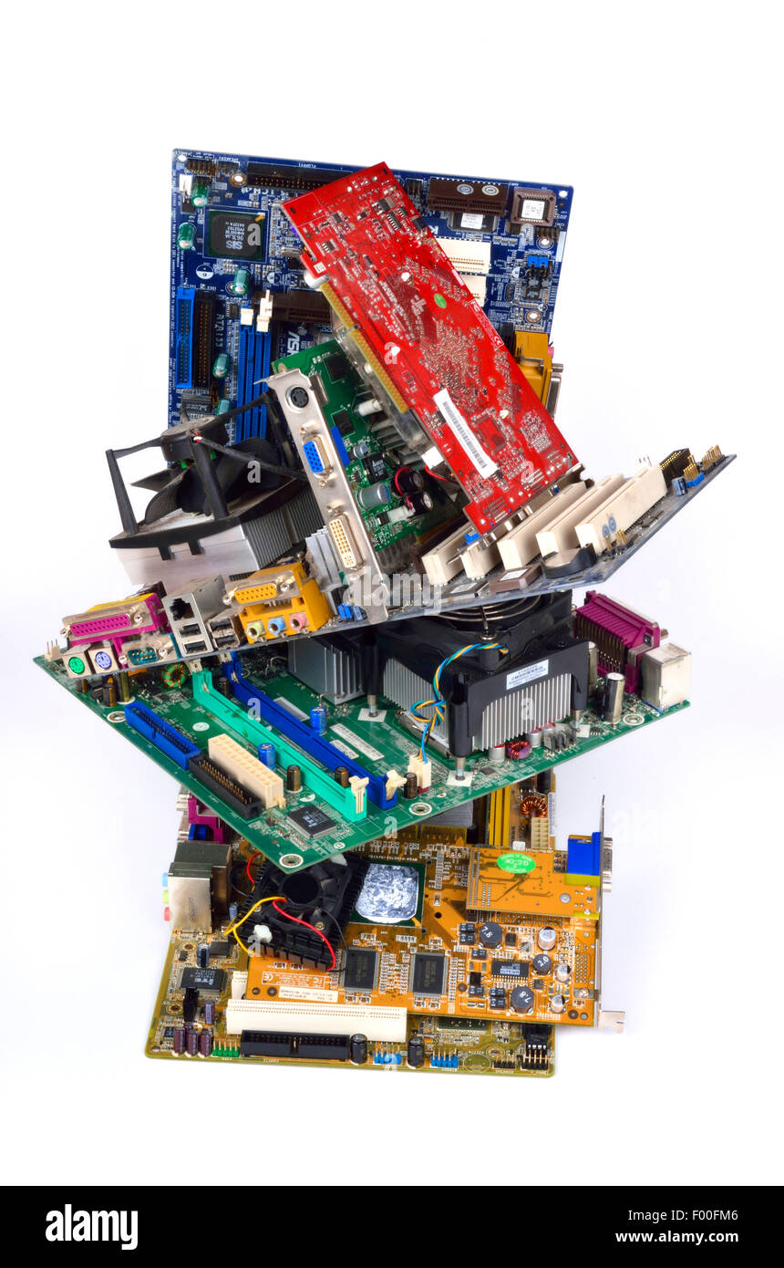piled up mainboards, computer scrap - Stock Image