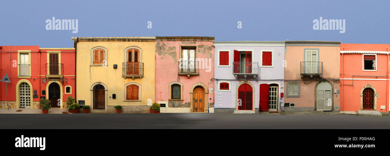 colourful row of houses, Italy, Sicilia, Milazzo - Stock Image