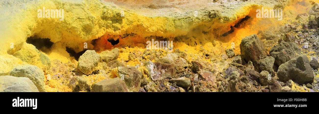 fumarole with toxic fumes, Italy, Sicilia, Vulcano, Liparic Islands - Stock Image