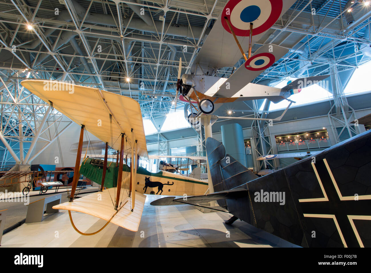 Canada,Ontario,Ottawa, Canada Aviation & Space Museum, Nieuport 12 (top) and Curtiss JN-4 Canuk - Stock Image