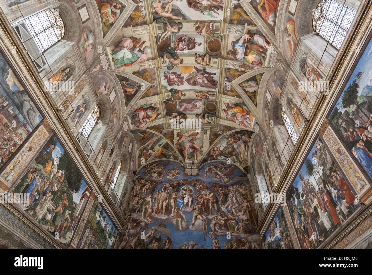 The Sistine Chapel ceiling, painted by Michelangelo. Vatican Museums, Vatican City, Rome Italy - Stock Image