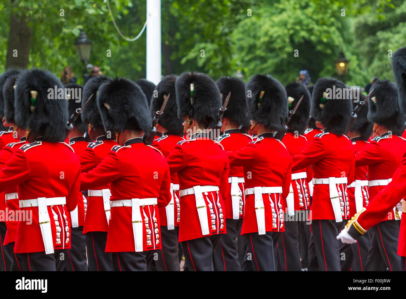 Trooping The Colour, The Mall . London 2015 .The Welsh Guards troop the Colour at the annual Queens Birthday Parade Stock Photo