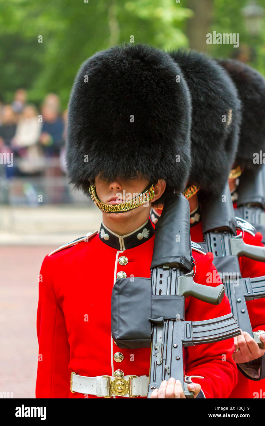 Trooping The Colour The Mall . London 2015 .The Welsh Guards troop the Colour at the annual Queens Birthday Parade Stock Photo