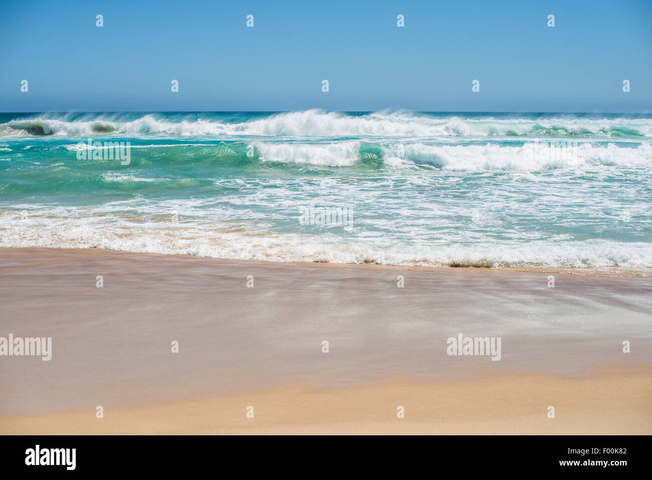 View of sea waves and sea spray, from the beach Stock Photo