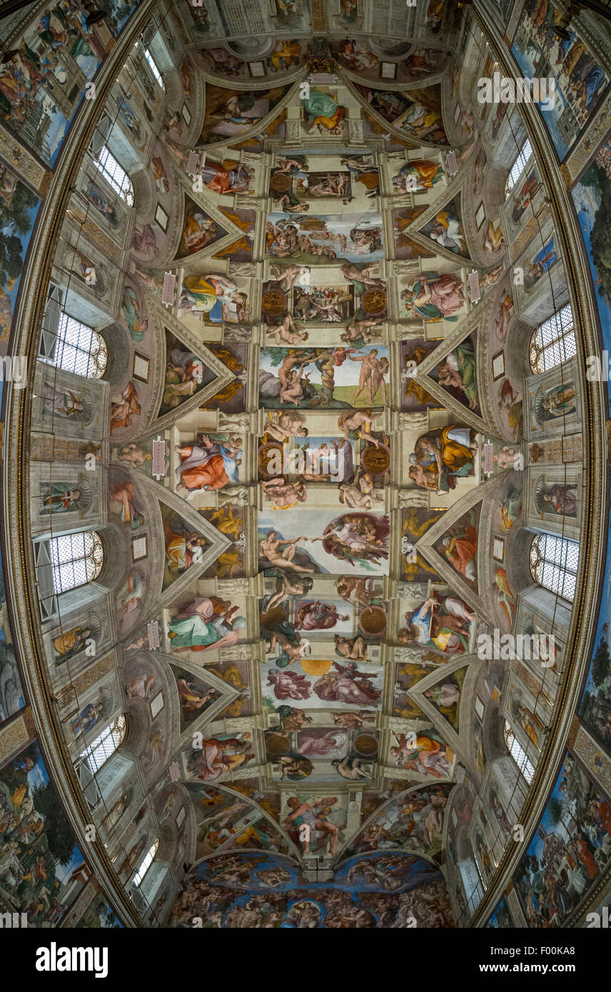 The Sistine Chapel ceiling, painted by Michelangelo shot with a ...