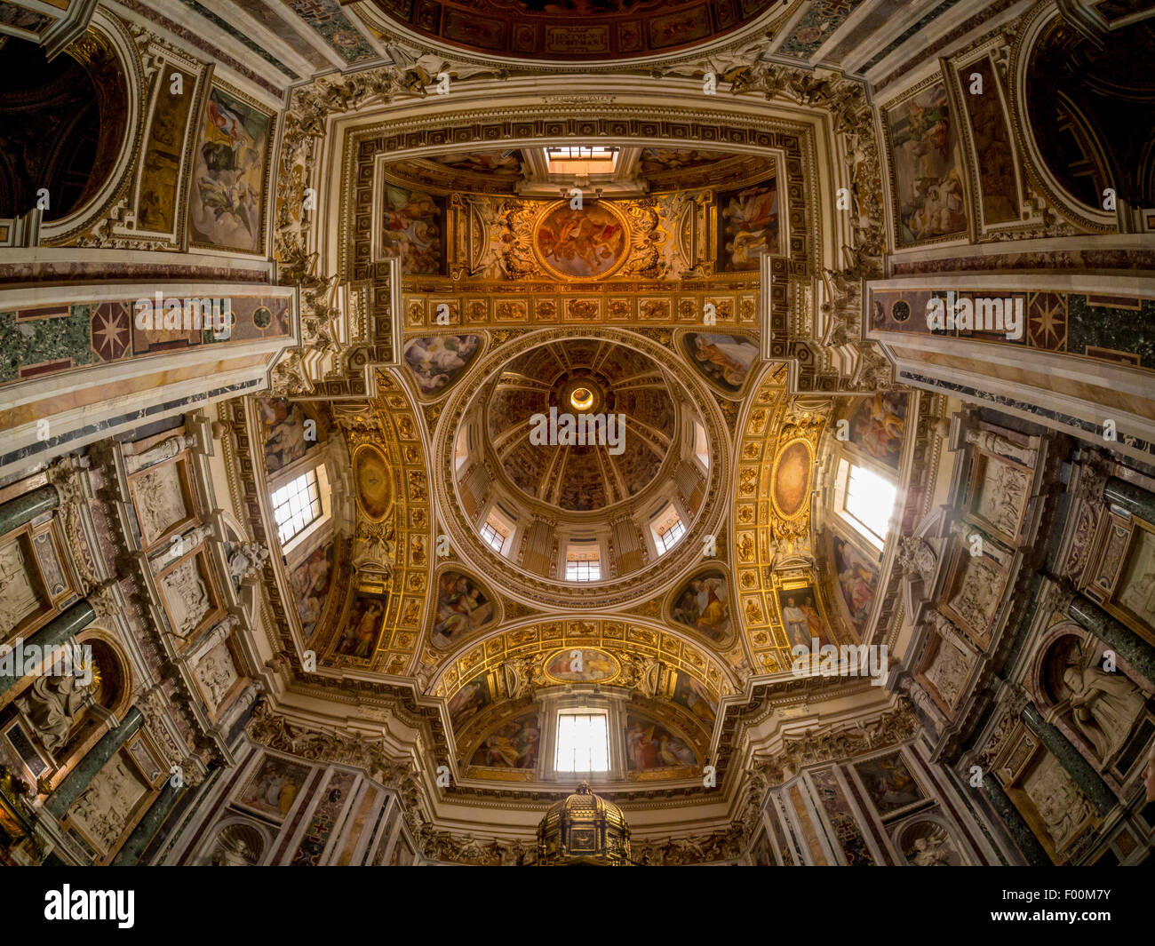 Domed ceiling of Sistine Chapel and Oratory of the Nativity. The Basilica di Santa Maria Maggiore. Rome, Italy. Stock Photo