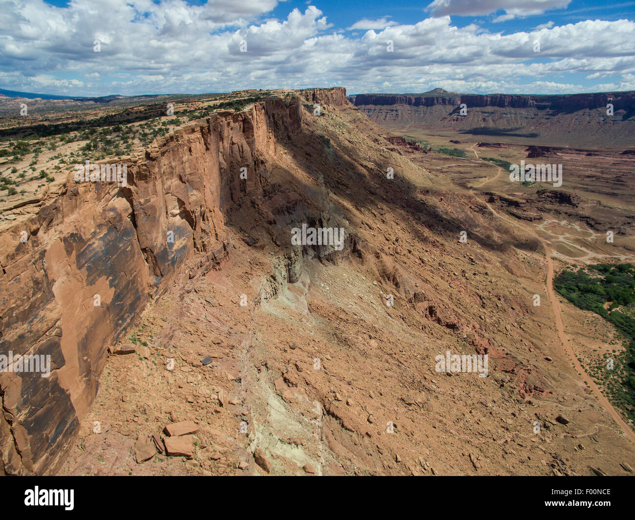 Aerial of Cliff and Mesa - Moab, UT - Stock Image