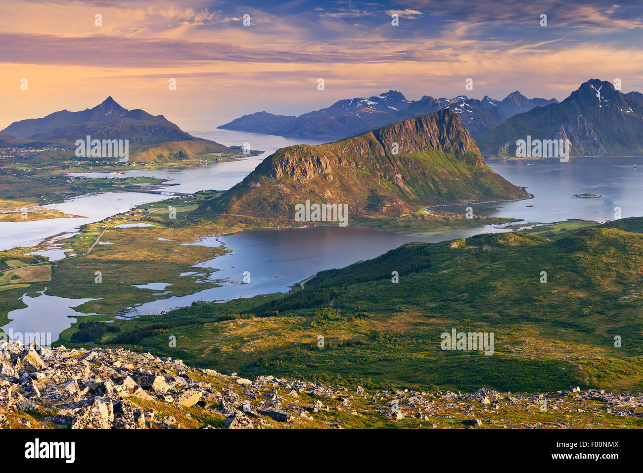 Norway. View of  Lofoten Islands, located in Norway, taken from Holadsmelen, during summer sunset. - Stock Image
