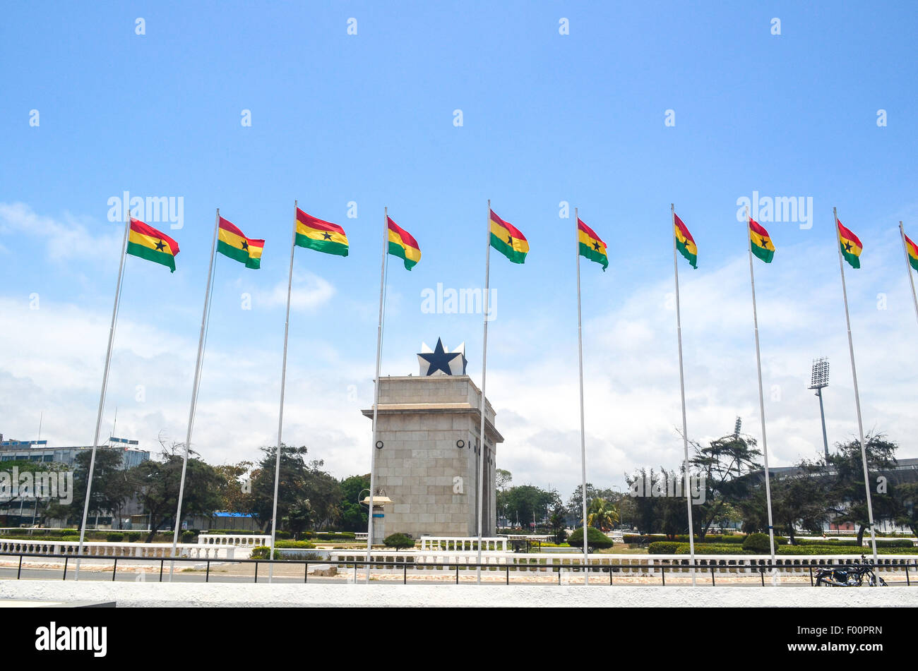 Ghanaian flags at the Independence Square and Black Star Gate in Accra, Ghana - Stock Image