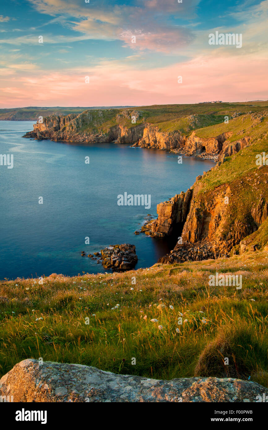 Sunset over the cliffs near Lands End, Cornwall, England - Stock Image