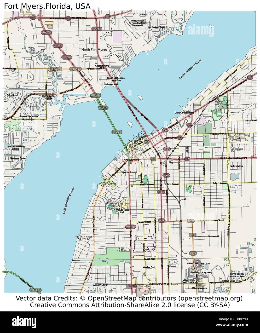 Map Of Fort Myers Florida.Fort Myers Florida Usa Country City Island State Location Map Stock