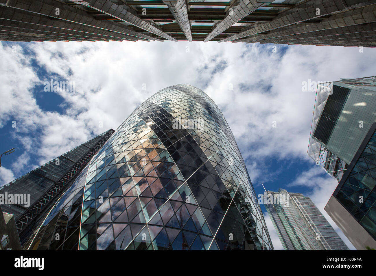 The Swiss Re Tower and Leadenhall Building in the City of London. - Stock Image