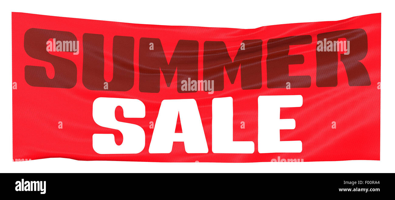 Summer sales red banner on white background - Stock Image