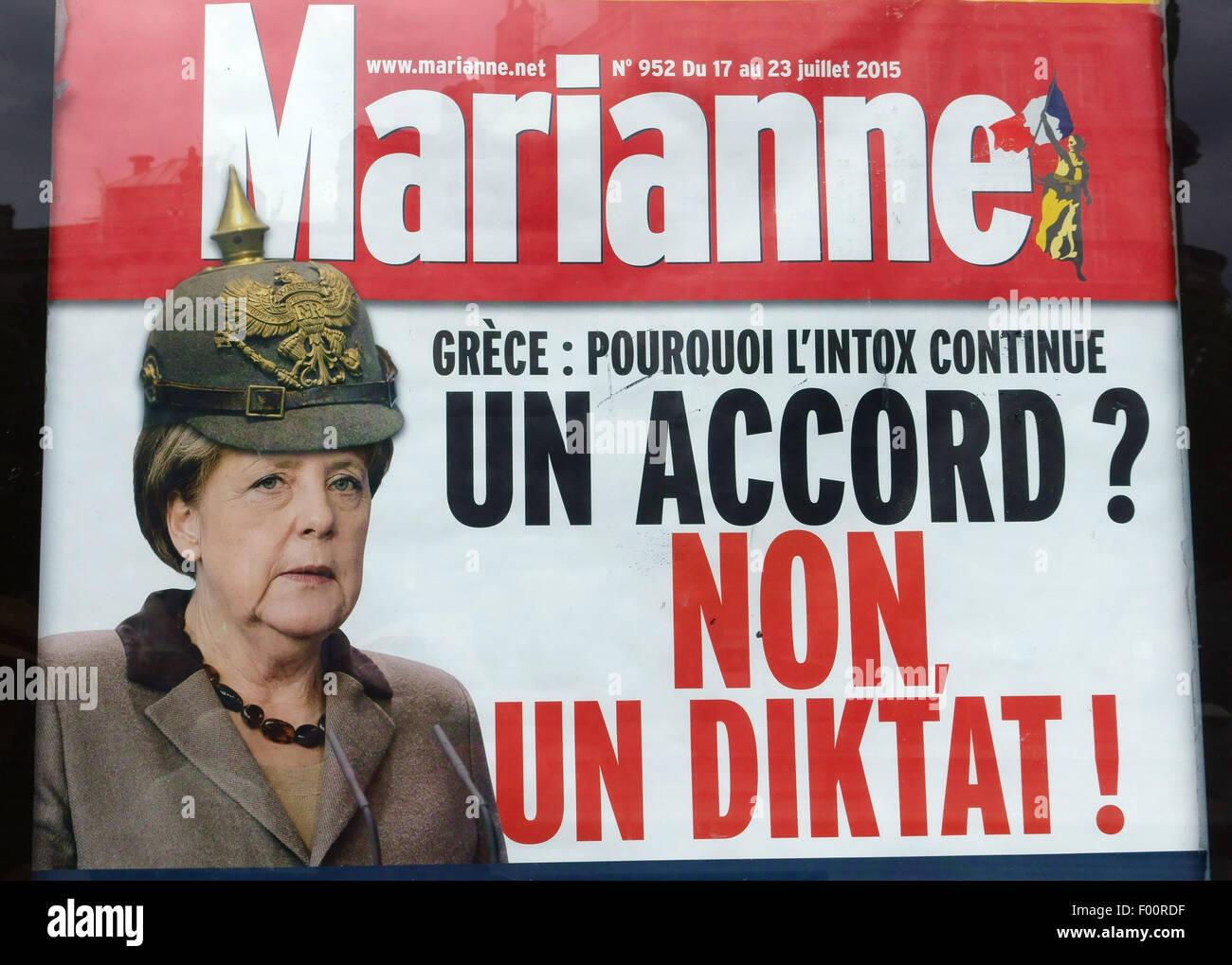 French magazine 'Marianne' satirises Chancellor Angela Merkel of Germany, France - Stock Image