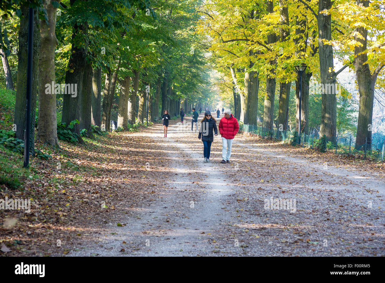 Walkers and runners on the old city walls. Ferrara, Italy - Stock Image
