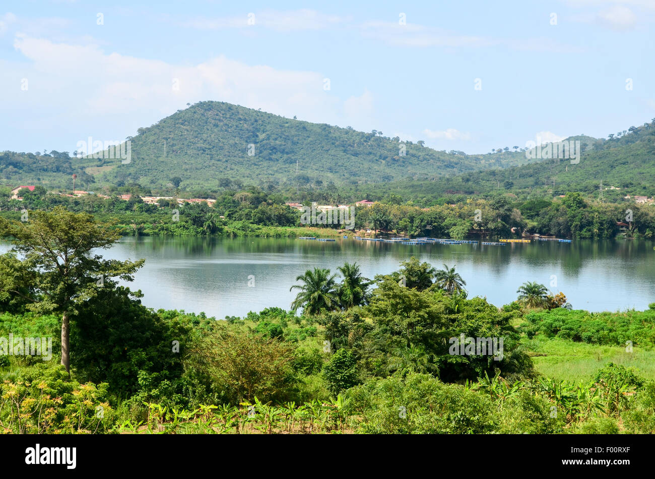 Landscape of Africa (Ghana), by the Volta river just downstream the Akosombo dam - Stock Image