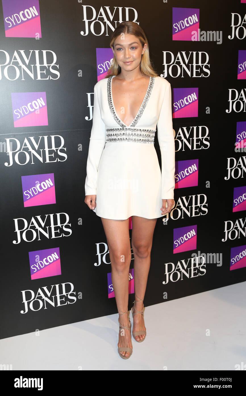 Sydney, Australia. 5 August 2015. Gigi Hadid arrives at the David Jones Spring/Summer 2015 Collection Launch at Stock Photo