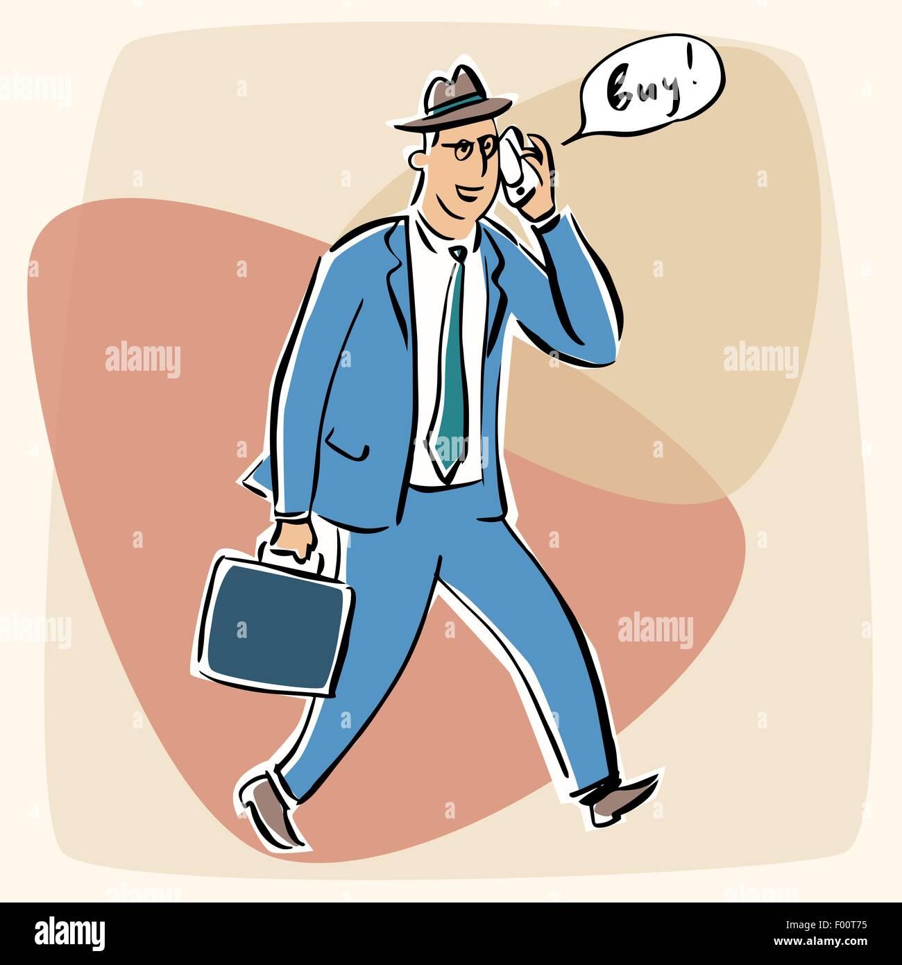 Businessman talking on the phone goodbye retro style - Stock Vector