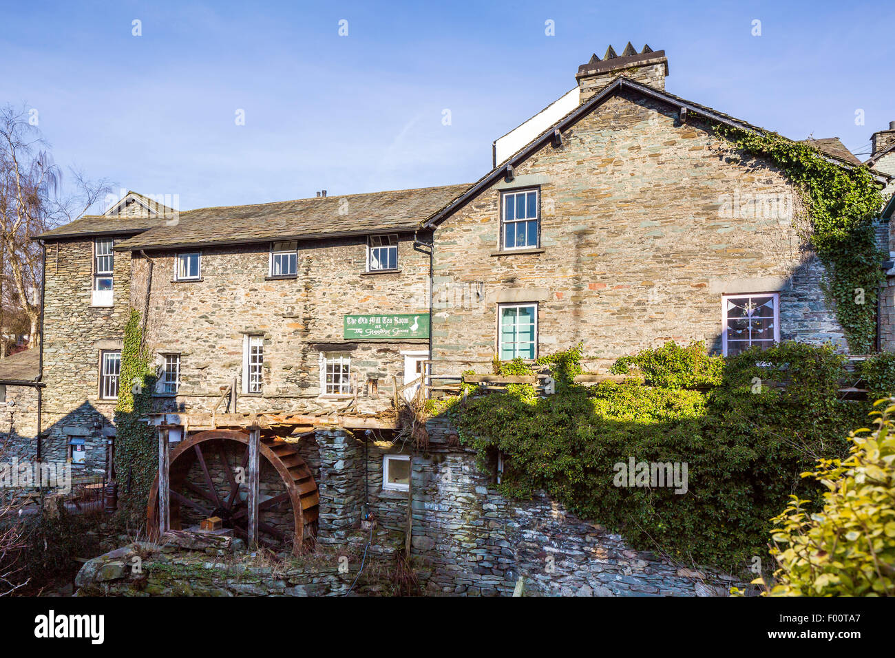 Old Mill, Ambleside, Lake District National Park, Cumbria, England, United Kingdom, Europe. - Stock Image