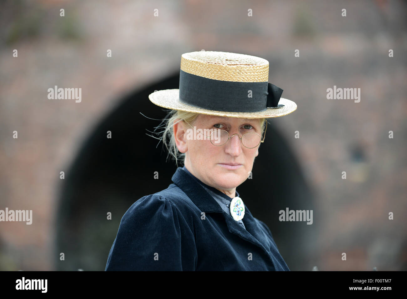 Gill Jordan portraying a Victorian school mistress teacher at Blists Hill museum - Stock Image