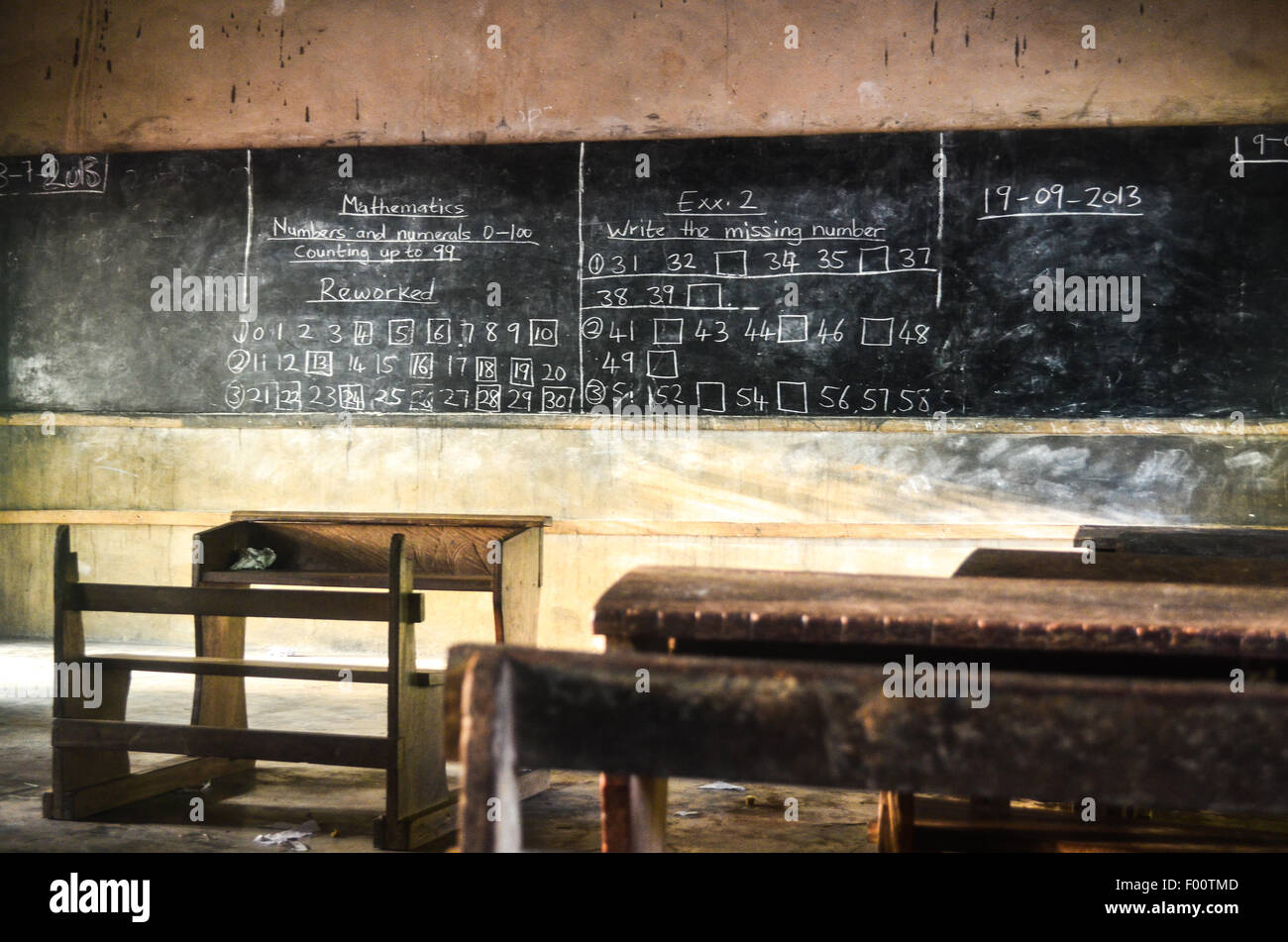 Mathematics on a blackboard of a rural school room in eastern Ghana - Stock Image